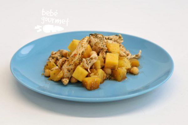 Frango com batata-doce comida para bebé